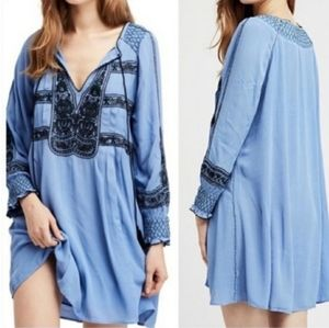 Free People Wind Willow Peasant Blue Dress